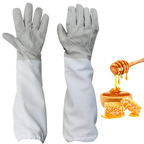 Yosoo Soft & Durable Leather Protective Beekeeping Gloves Goatskin Bee Keeping Gloves with Vented Cloth Extra Long Thick Sleeves (1 Pair)