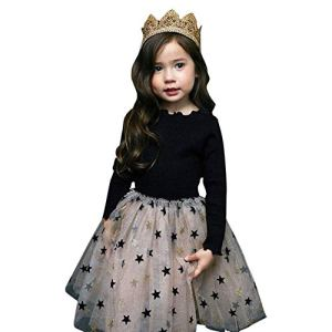 Hopscotch Girls Polycotton Full Sleeves Geometric Star Dress in Black Color