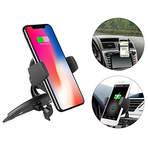 EEEKit Qi Wireless Charger Car CD Slot Mount Phone Holder for iPhone XS/XR/X/8/8 Plus, Samsung Galaxy S10/S10E/S9/S8/Note 9/Note 8/S7/S7 Edge/S6, Qi-Enabled Devices