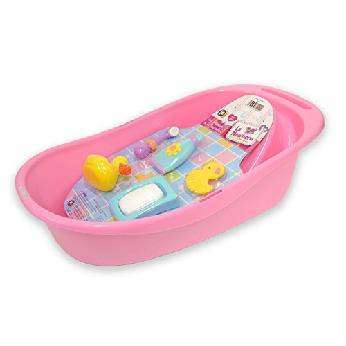 JC Toys 7-Piece Pink Baby Doll Bath Gift Set Fits Most Dolls up to 16' Dolls - Ages 2+ - Designed by Berenguer Boutique Baby Doll