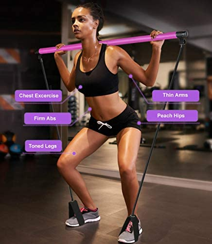 Artoflifer Exercise Resistance Band Yoga Pilates Bar Kit Portable Pilates Stick Muscle Toning Bar Home Gym Pilates with Foot Loop for Total Body Workout (Pink) 6