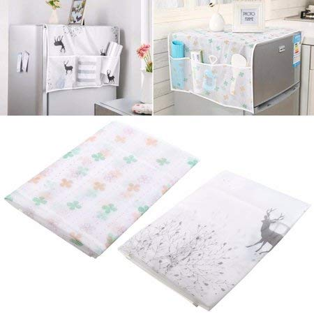 41kth8TKI1L SVK Dream Home Transparent Printing Waterproof Cloth dust Cover Household Refrigerator Cover Towel Hanging Storage Bag Flamingo 130 X 55cm in White Color (Color May Vary)