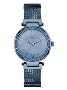 GUESS Women's Blue Analog Woven Watch