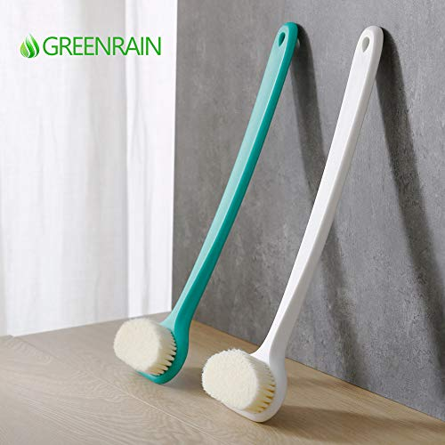 Bath Body Brush with Comfy Bristles Long Handle Gentle Exfoliation Improve Skin's Health and Beauty Bath Shower Wet or Dry Brushing Body Brush (White & Green) 10