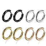 4Pairs 316L Surgical Stainless Steel Hoop Earrings Hypoallergenic 8mm Small Huggie Earrings Hoop Cartilage Helix Lobes Hinged Sleeper Earrings for Men Women(8MM Hoops)