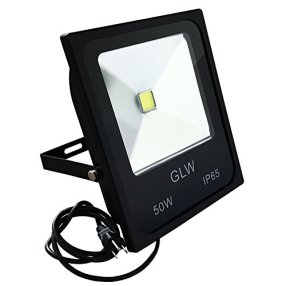 GLW 50w Outdoor LED Flood Lights Warm White Security Light, LED Parking Lot Lights, Waterproof Floodlight Lamp 5150lm 300w Halogen Bulb Equivalent [Added Plug]