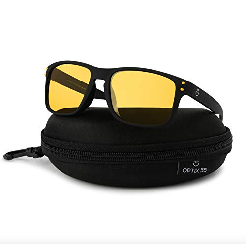 Optix 55 Night Vision Glasses for Driving, Anti-Glare Polarized, Night Driving Glasses for Men & Women, Yellow-Tinted with Hard Case