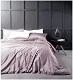 Eikei Solid Color Egyptian Cotton Duvet Cover Luxury Bedding Set High Thread Count Long Staple Sateen Weave Silky Soft Breathable Pima Quality Bed Linen (King, Mauve)