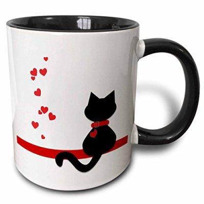 3dRose Pet Lovers Red Hearts Black Kitty Cat Two Tone Mug, 11 oz
