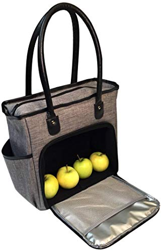 Insulated Lunch Bag Tote for Women | Adult Womens Lunch-box Cooler Bags for Work | Ladies Commuter Totes | Meal Prep Handbag Purse with Zipper | Grey, Black Shoulder Strap