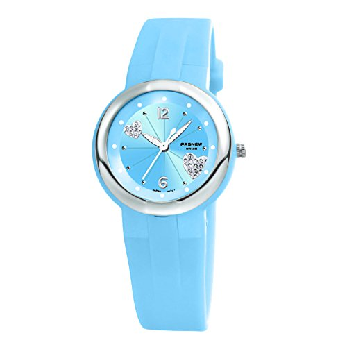 Girls Watches for Teenage Casual Dress Watch Waterproof with Second Hand for Age 7-16 Light Blue