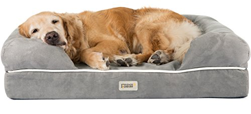 Orthopedic Dog Bed Lounge Sofa Removable Cover 100% Suede 4' Mattress Memory-Foam Premium Prestige Edition 36' x 28' x 9' Pewter Grey Large