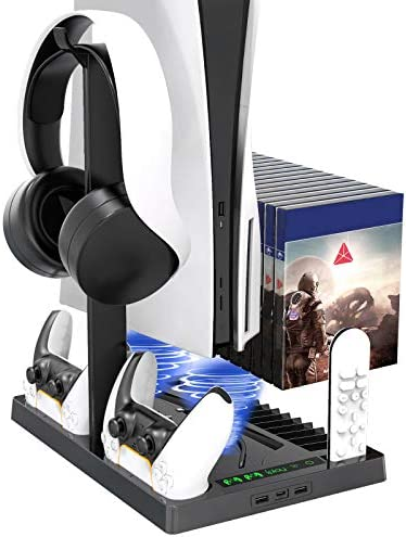 Vertical Stand with Headset Holder and Cooling Fan Base for PS5 Console/Digital Edition, 2 Controller Chargers, 15 Game Disc Slots, 3 USB Hubs and 1 Media Remote Storage