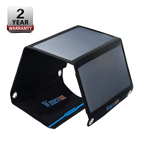 Foldable Solar Charger 21W for Cell Phones,for iPhone,for iPad,for iPods and Android 5V USB Charging Devices with High Efficiency SunPower Foldable Solar Panel Charger