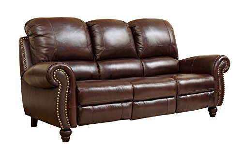 Abbyson Durham Leather Pushback Reclining Sofa, Burgundy