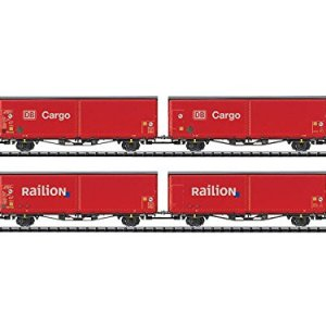 TYPE HIRRS-TT 325 SLIDING-WALL BOXCAR 4-PACK – READY TO RUN – MINITRIX — 2 EACH: GERMAN RAILROAD DB AG DB CARGO & RAILION (ERA V, RED) 41l95MJWh0L