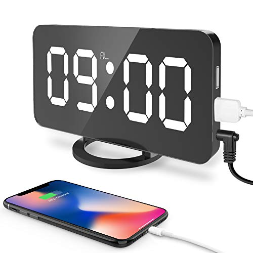 CSHID-US Digital Alarm Clock, Large 6.5' LED Easy-Read Night Light Dimmer Display Electric Bedroom Clock with Snooze Function, Dual USB Charger Ports, Mirror Surface