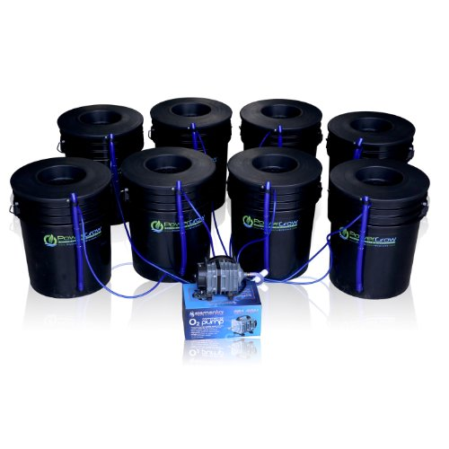 Deep Water Culture (DWC) Hydroponic Bubbler 8 Bucket Kit with 6' Lids by PowerGrow Systems