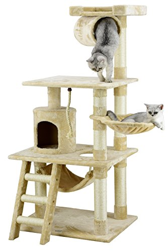 Go Pet Club 62' Cat Tree Condo Furniture Beige Color