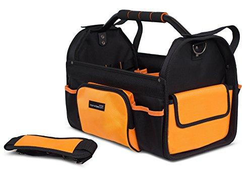 Internet's Best Open Top Tool Bag   Rigid Frame Tote Tool Box   16 Pocket Hard Utility Tool Bin   17 Inch