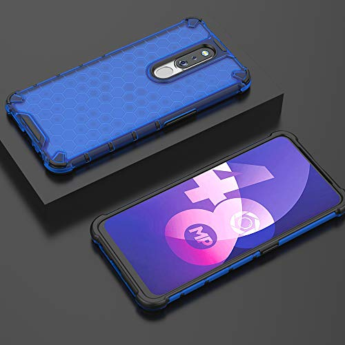 Prime Retail TPU+PC Dual Layer Honeycomb Pattern Shockproof Premium Back Case Cover for Oppo F11 Pro - Blue 3