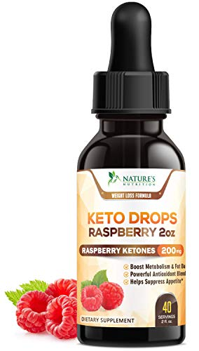 Keto Ketone Drops Max Potency Raspberry Ketones - Thermogenic Fat Burner with African Mango & Garcinia - Promotes Natural Weight Loss, Ketosis Diet Appetite Control, Metabolism Booster - 2 oz Bottle