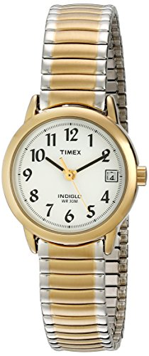 41lDK6jrhFL Easy-to-Read White Dial with Full Arabic Numerals Brushed/Polished Two-Tone Stainless Steel Expansion Band Date Window