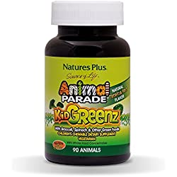 Natures Plus Animal Parade Source of Life KidGreenz Childrens Chewables - Natural Tropical Fruit Flavor - 90 Animal Shaped Tablets - Whole Foods Supplement - Vegetarian, Gluten Free - 90 Servings