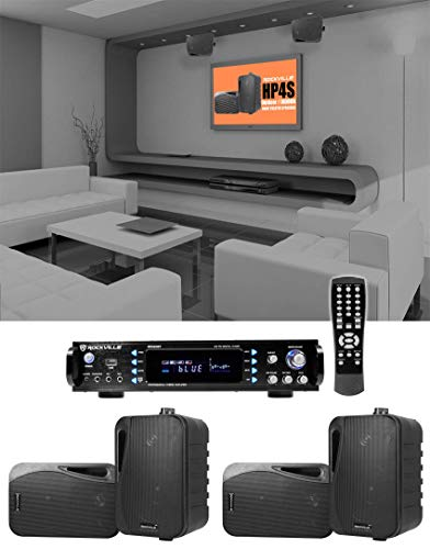 Rockville 1000 w Home Theater System w/Bluetooth Receiver+(4) 4″ Swivel Speakers