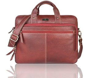 Leaderachi Brown 100% Genuine Leather 15 inch Laptop Messenger Briefcase Bag [ Bonito ] Summer Sale Special