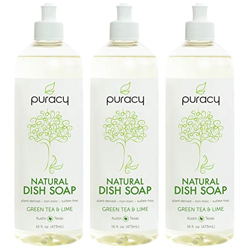 Puracy Natural Liquid Dish Soap, Sulfate-Free Detergent, Green Tea & Lime, 16 Ounce (3-Pack)