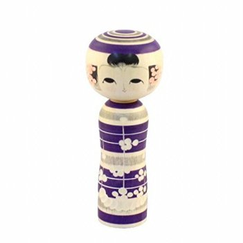 SELECTIA Japanese Kokeshi-Doll Wooden Handcrafted Ume-emaki Hand-Painted Made in Japan Kimono Girl Handcrafted-Wood Toy 2 (Purple)