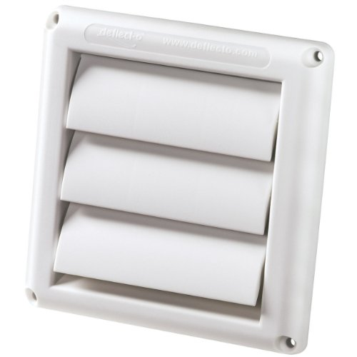 Deflecto Supurr-Vent Louvered Outdoor Dryer Vent Cover, 6 Inches Hood, White (HS6W)