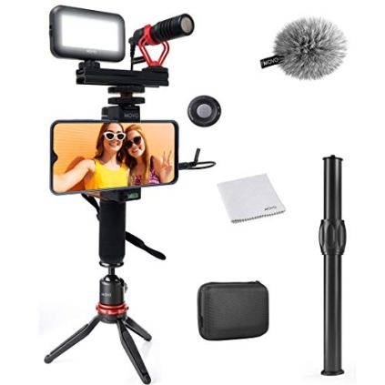 Movo-Smartphone-Video-Kit-V1-Vlogging-Kit-with-Tripod-Grip-Shotgun-Microphone-LED-Light-and-Wireless-Remote-YouTube-Equipment-Compatible-with-iPhone-Android-Samsung-Galaxy-Note-Vlogging-Gear
