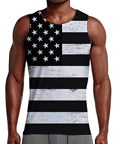 NEWISTAR Teen Youth 3D Print USA Flag Tank Top Black&White Vest Sleeveless Tees T-Shirts for Dad Work Sport