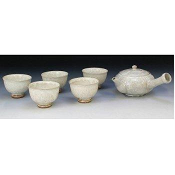 Kiyomizu-kyo yaki ware. Set of Japanese yunomi teacup and kyusu teapot white inka with paper box. ceramic. kymz-JGT215