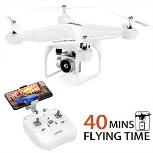 40MINS(20mins + 20mins)Long Flight Time Drone JJRC JJPRO H68 RC Quadcopter with Removeable 720P Camera FPV WiFi Helicopter with 2 Batteries Altitude Hold, Headless Mode, APP Control Best Drone(White) 41lSvegCuBL