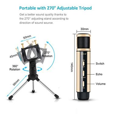 Studio-Recording-Microphone-ZealSound-Condenser-Broadcast-Microphone-wStand-Built-in-Sound-Card-Echo-Recording-Karaoke-Singing-for-Phone-Computer-PC-Garageband-Smule-Live-Stream-Youtube-Gold
