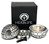 Death Star 3 Piece Herb Grinder With Pollen Scraper By Herb Life (Grinder is 2 Inches or 50 mm)