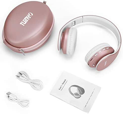 Bluetooth Headphones,TUINYO Wireless Headphones Over Ear with Microphone, Foldable & Lightweight Stereo Wireless Headset for Travel Work TV PC Cellphone-Rose Gold 17