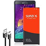 Galaxy Note 4 Battery, SUNZOS 3220mAh Li-ion Replacement Battery for Samsung Galaxy Note 4 N910, N910U LTE, N910V (Verizon), N910T (T-Mobile), N910A (at&T), N910P (Sprint) [3 Years Warranty]