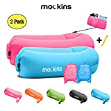 Mockins 2 Pack Blue Pink Inflatable Lounger Hangout Sofa Bed with Travel Bag Pouch The Portable Inflatable Couch Air Lounger is Perfect for Music Festivals and Camping Accessories Inflatable Hammock ...