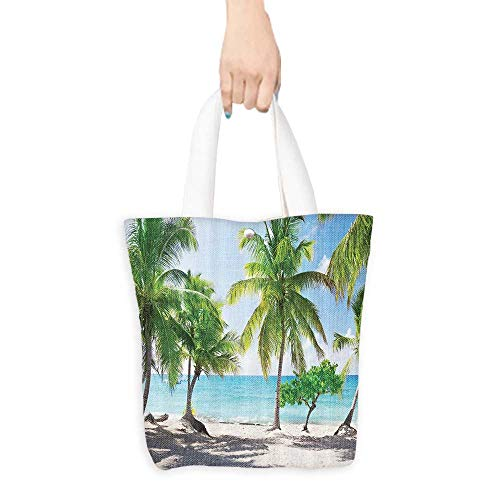 Grocery BagBeach Shower Curtain Decor by Ambesonne Palm Tree Leaves and Catalina Island Seashore Coastal Panoramic Picture Print Polyester Fabric Bathroom Shower(W15.75 x L17.71 Inch)
