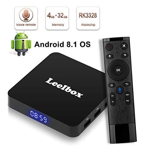 Android 8.1 TV Box, Leelbox Q4 Android Box Quad Core with 2.4GHz Voice Remote Control, 4GB RAM 32GB ROM RK3328 Quad-core, Support BT 4.1/WiFi/3D/4K/H.265