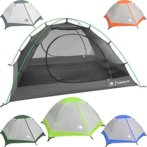Hyke & Byke 2 Person Backpacking Tent with Footprint - Lightweight Yosemite Two Man 3 Season Ultralight, Waterproof, Ultra Compact 2p Freestanding Backpack Tents for Camping and Hiking (Lime Green)