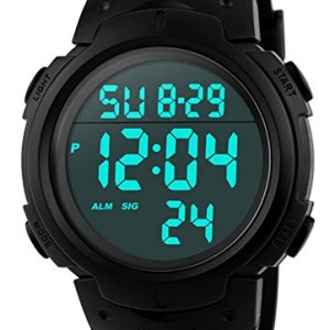 CakCity Men's Digital Sports Watch LED Screen Large Face Military Watches and Waterproof Casual Luminous Stopwatch Alarm Simple Army Watch – Black