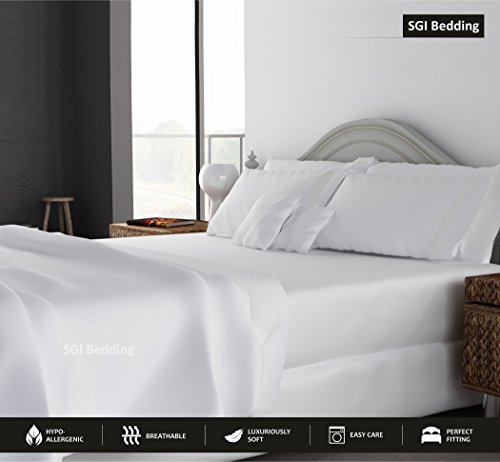 King Size Sheets Luxury Soft 100% Egyptian Cotton - Bed Sheet Set for King Mattress White Solid 600 Thread Count Deep Pocket