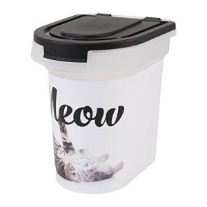Paw Prints Plastic Pet Food Bin, Meow Photo Design, 15lb