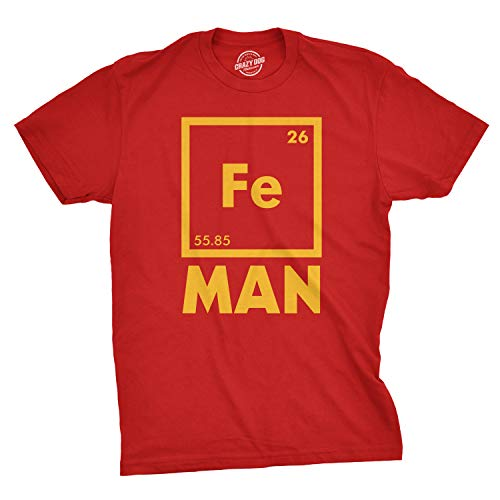 Iron Science T Shirt Funny Chemistry Shirt Fe Periodic Table Tee, Red, Small