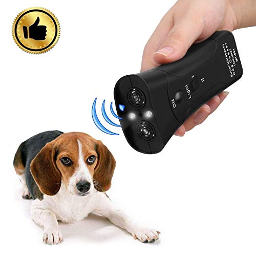 Hqdz Handheld Dog Repellent & Trainer,Dual Channel Electronic Animal Repellent,LED Ultrasonic Dog Chaser Aggressive Attack Repeller Trainer Flashlight Effective Barking Stop Device,Waterproof Dog 1